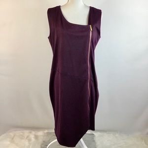 NINA LEONARD Full Front Zipper Wine Dress Large